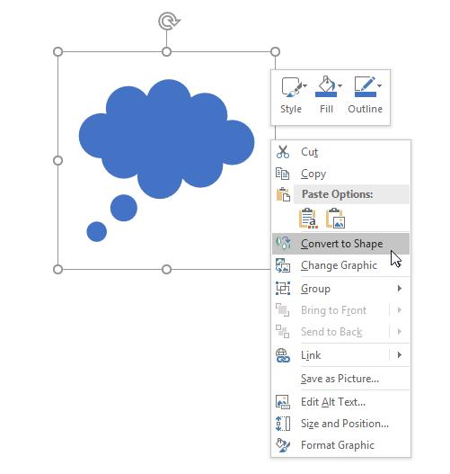 screenshot showing that you can convert to a shape