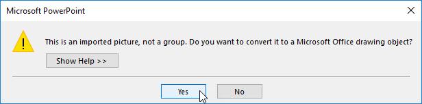 Screenshot of converting to a shape dialog warning