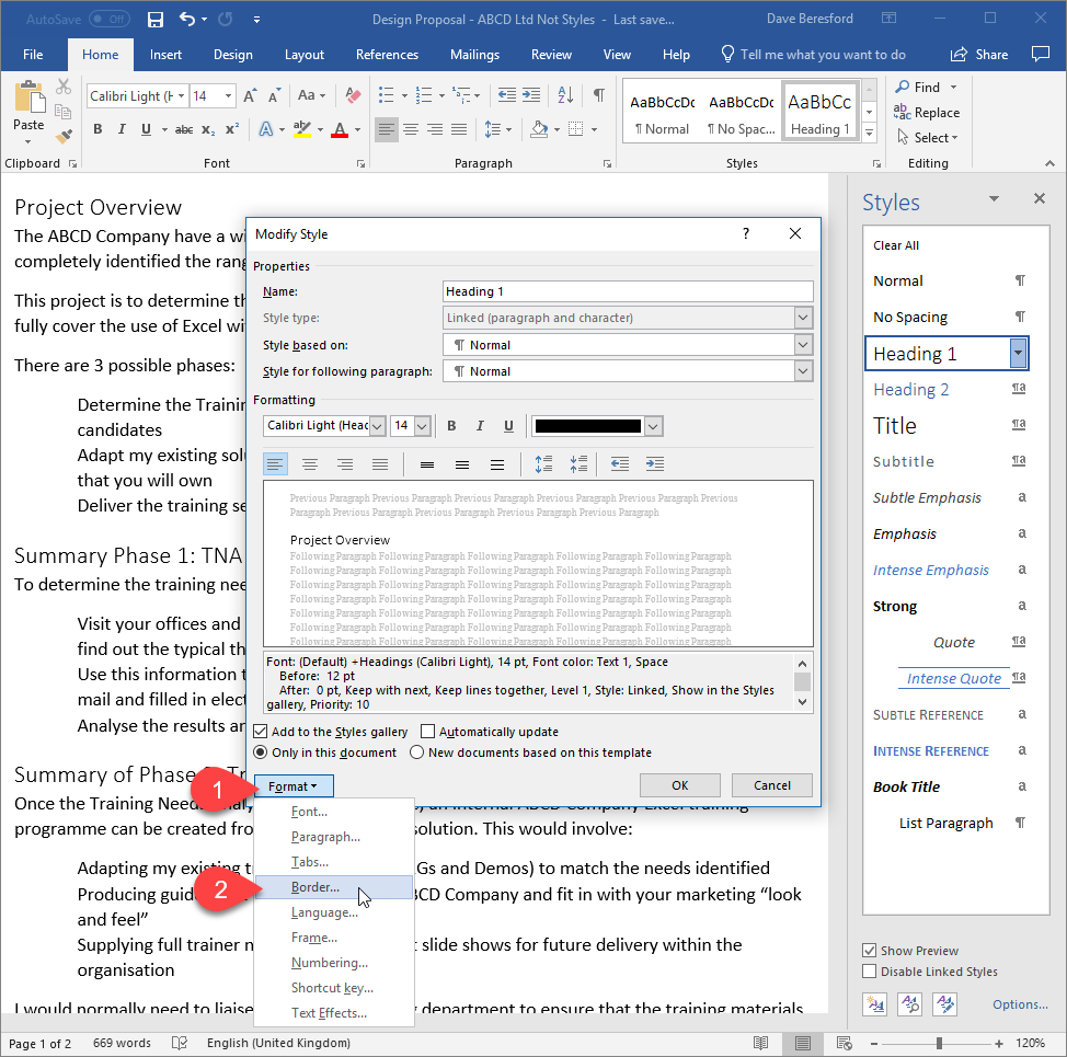 Screenshot showing a line being added under a paragraph