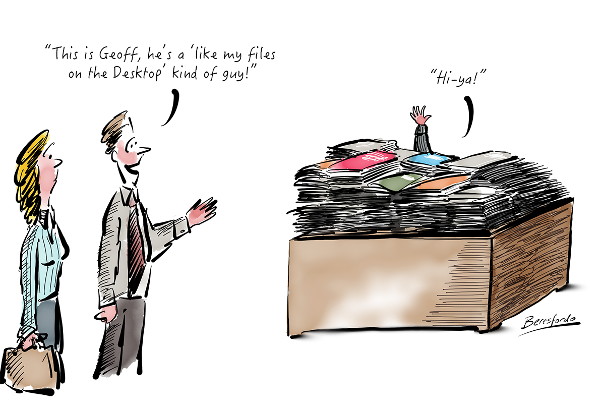 Cartoon showing a guy with loads of files on his desktop