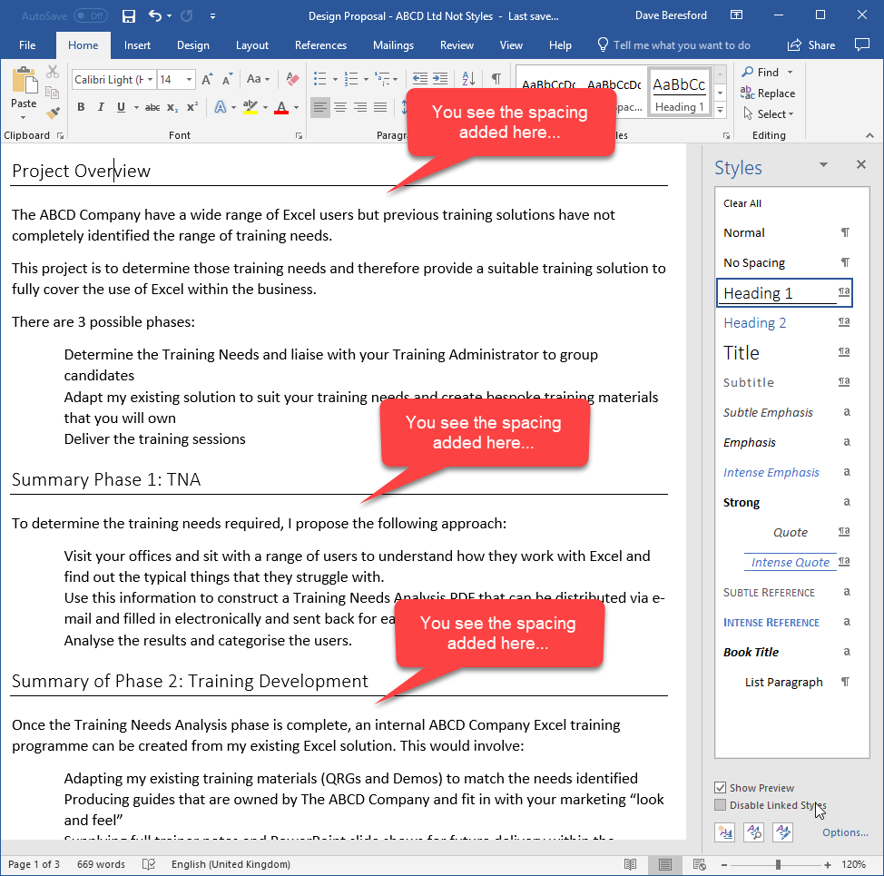 Screenshot showing spacing being added under a paragraph style