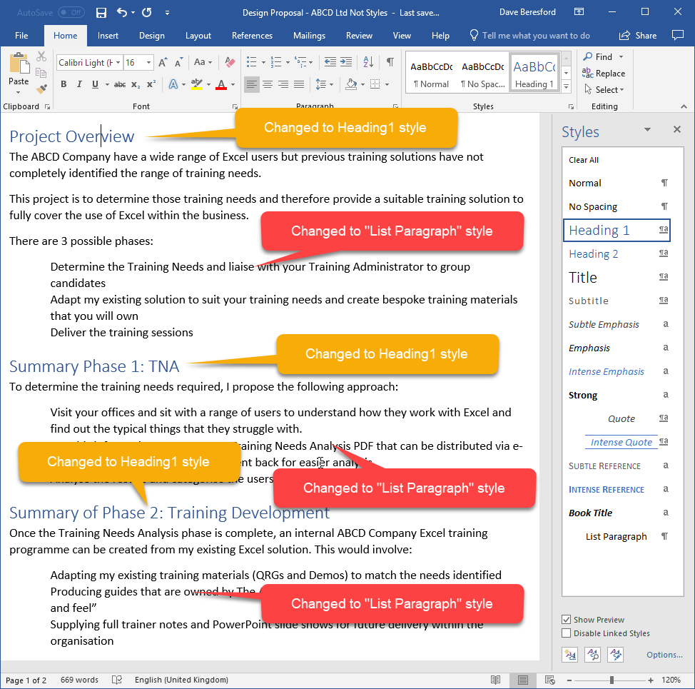 Screenshot showing paragraphs changed to certain styles