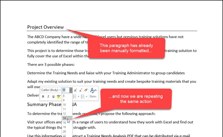 screenshot showing manual formatting
