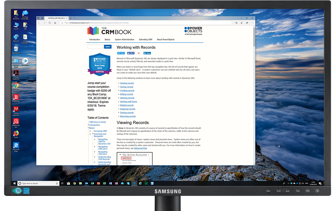 Screenshot of new Desktop with chosen window displaying