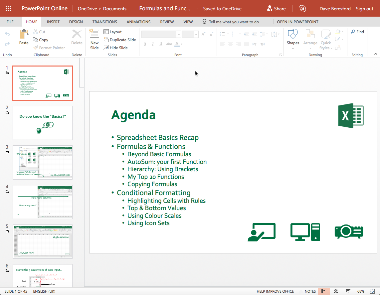 Powerpoint presentation open in PP online