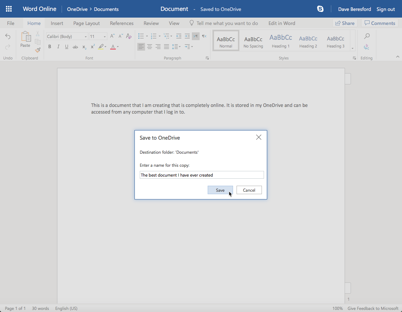 Saving a file to OneDrive