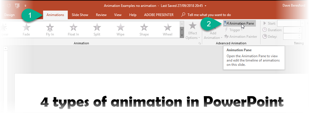 screenshot showing a user select the animation pane in PowerPoint