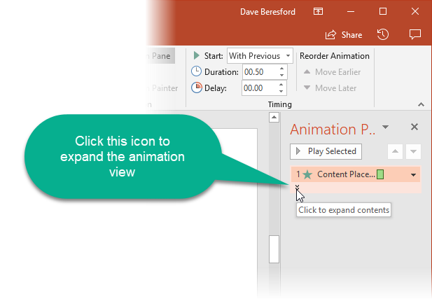Screenshot showing animation added to animation pane
