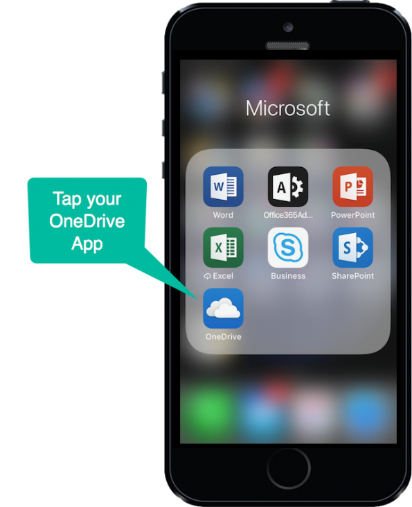 Tapping on your OneDrive App