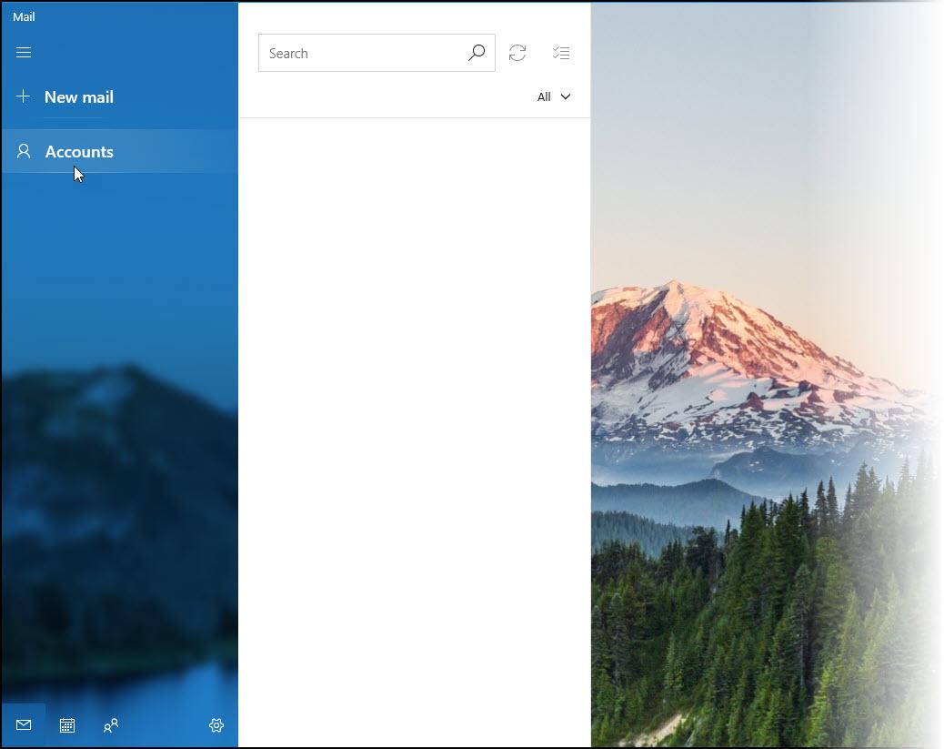 Microsoft Mail screenshot with no accounts set up