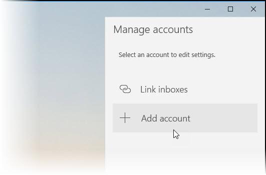 Screenshot of adding account to Microsoft Mail