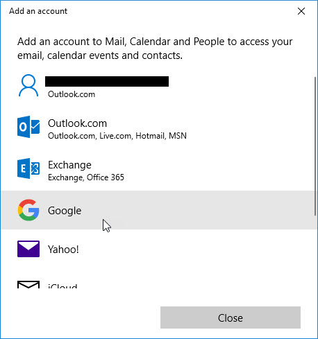 a screenshot of a Google account being selected in mail