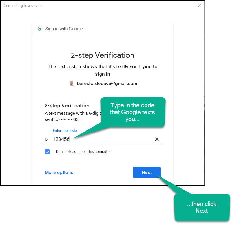 typing into the 2 step verification field