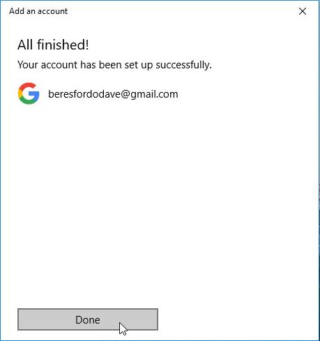 screenshot of mail setup complete