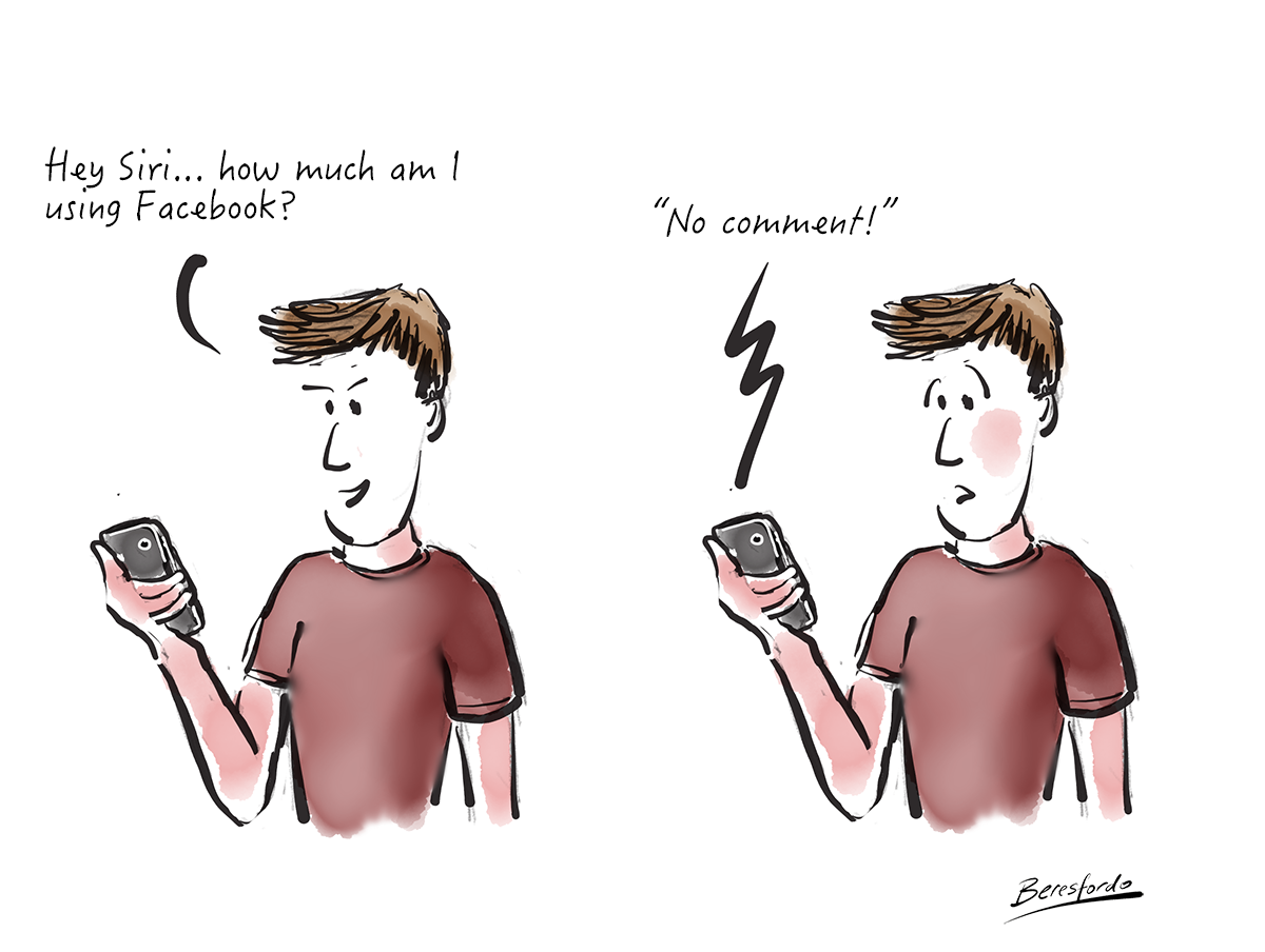 "A cartoon showing a guy asking Siri how much he uses Facebook - Siri says ""no comment"""