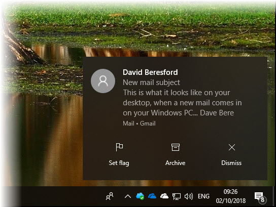 e-mail notification in Windows Mail