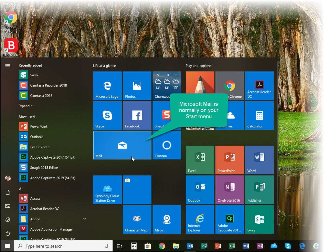 Windows Start menu with Mail highlighted
