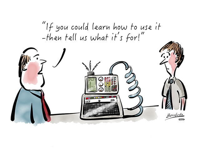 Cartoon about about learning a complicated machine
