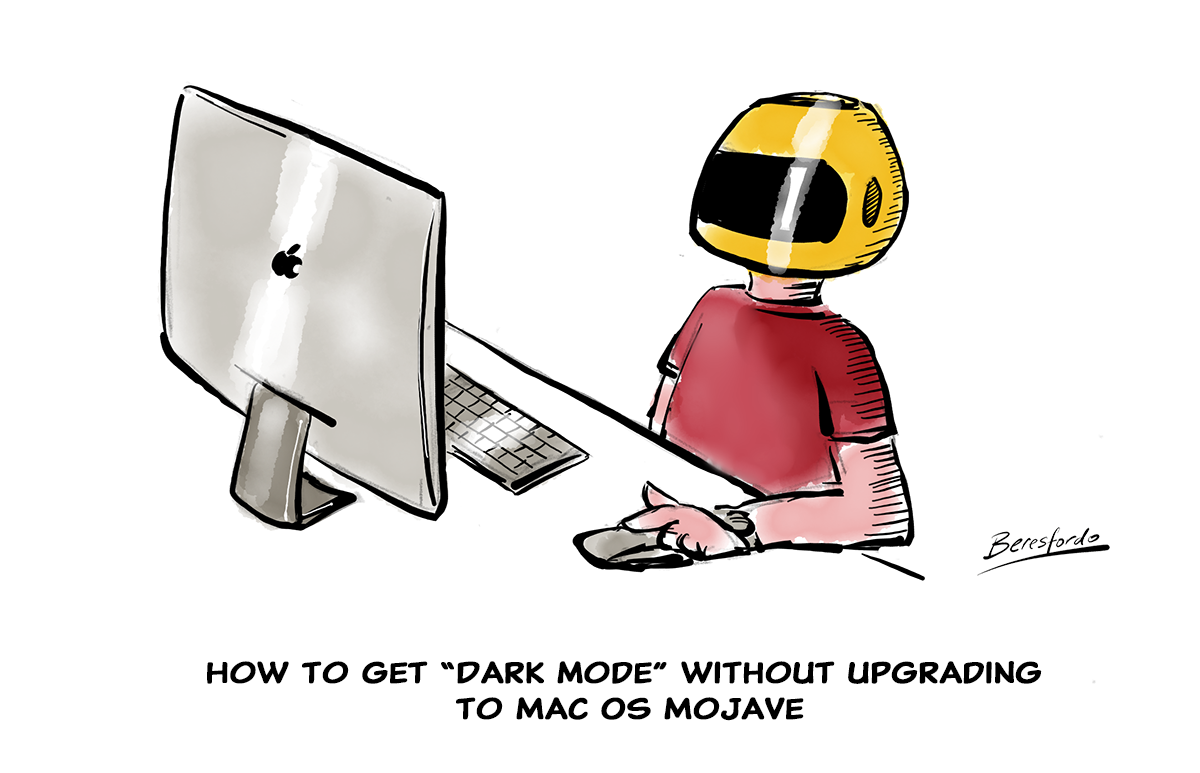 Cartoon about Dark Mode in Mojave
