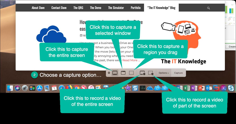 Taking a screenshot in Mac OS Mojave