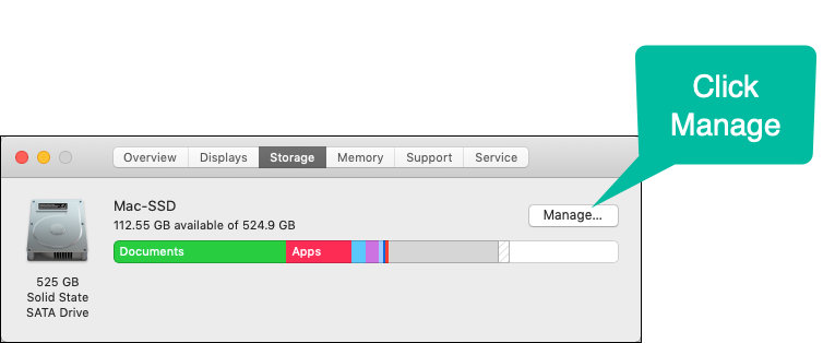 Click Manage on the Storage dialog