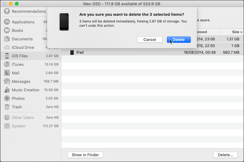 Deleting iOS files