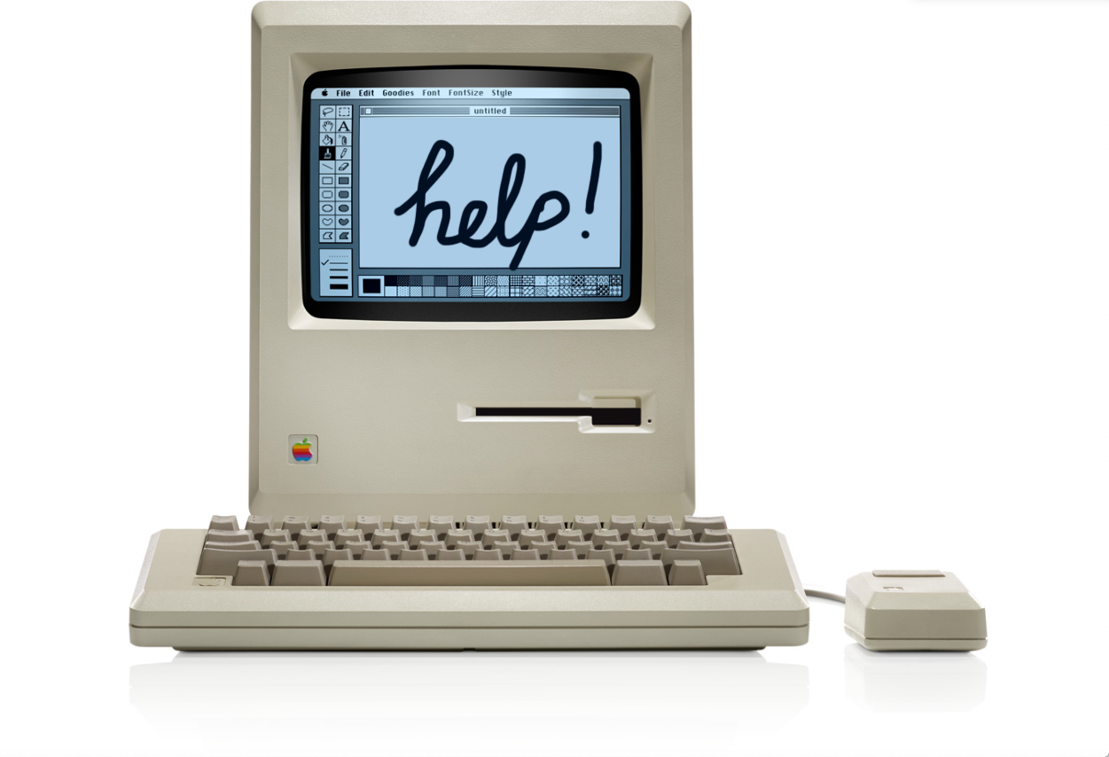 old mac with help drawn on the screen