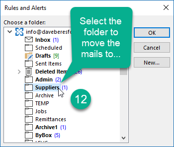 selecting the folder that you want to move the mails to