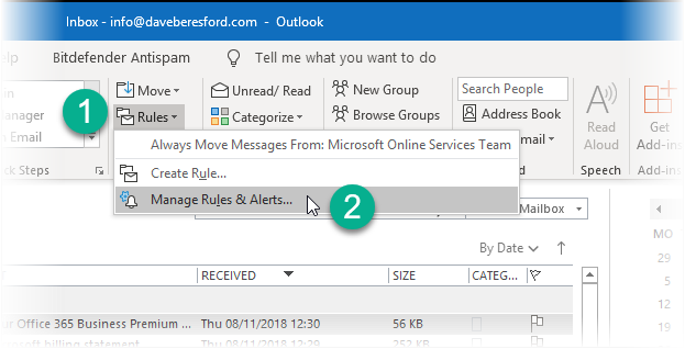 screenshot showing the selection of Manage Rules