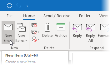 Screenshot showing a new mail started in Outlook