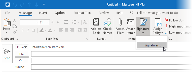Selecting Signatures off a new mail