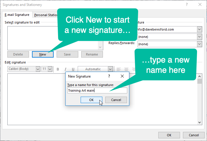screenshot showing how to start a new signature