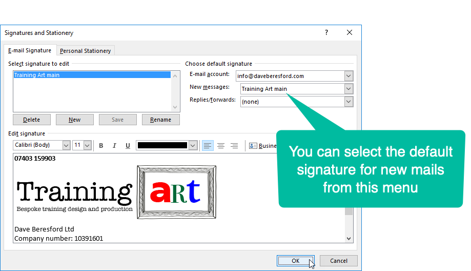 Selecting the default signature for new emails