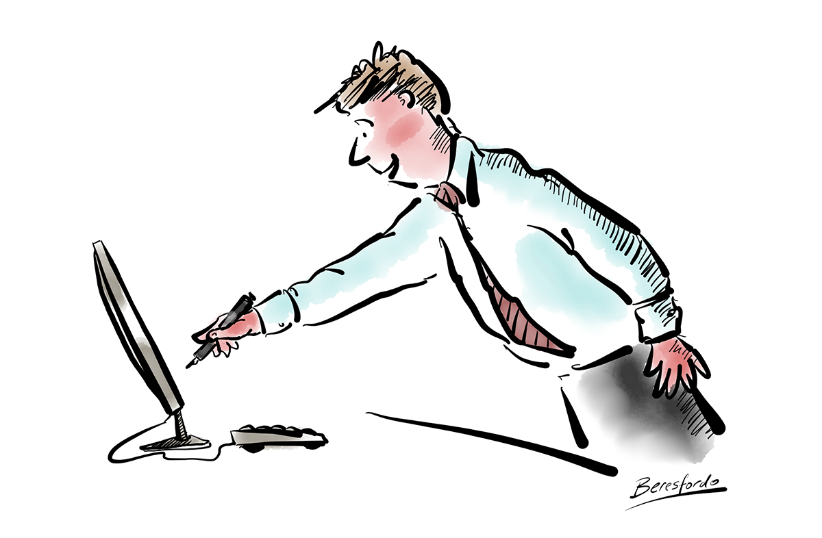 Cartoon showing a guy signing the screen