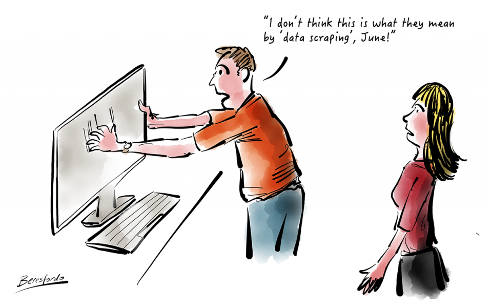 Cartoon with a guy scraping a screen