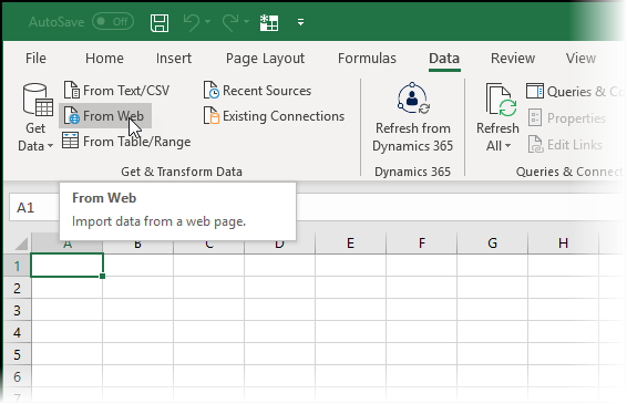 Selecting the Excel command Data - From Web