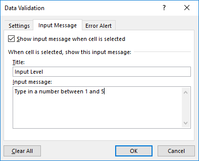 Data Validation input message