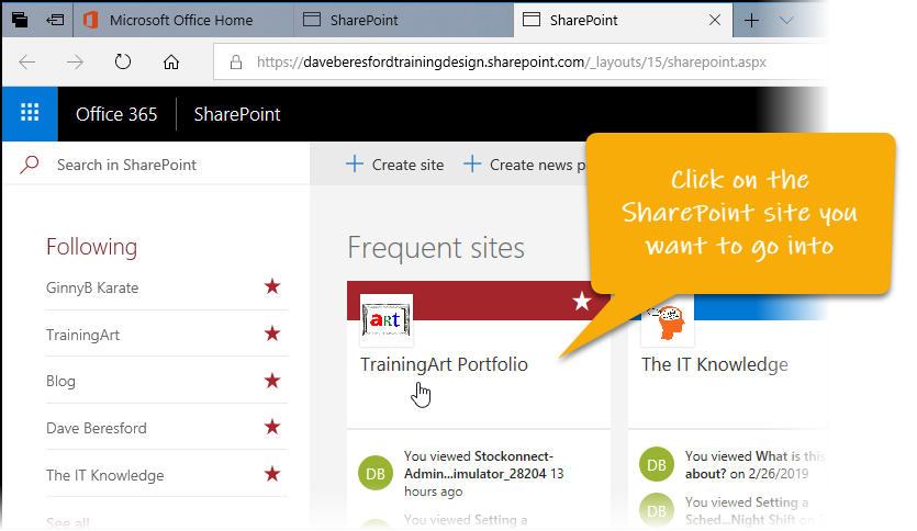 Selecting a SharePoint site