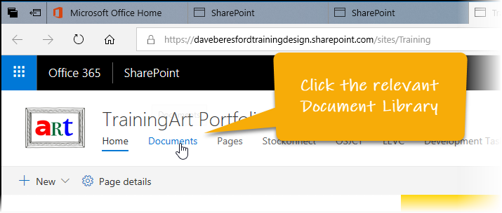 Clicking on a Document Library on SharePoint