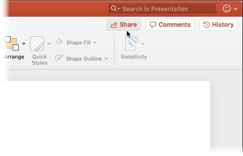 Mac PowerPoint Share button