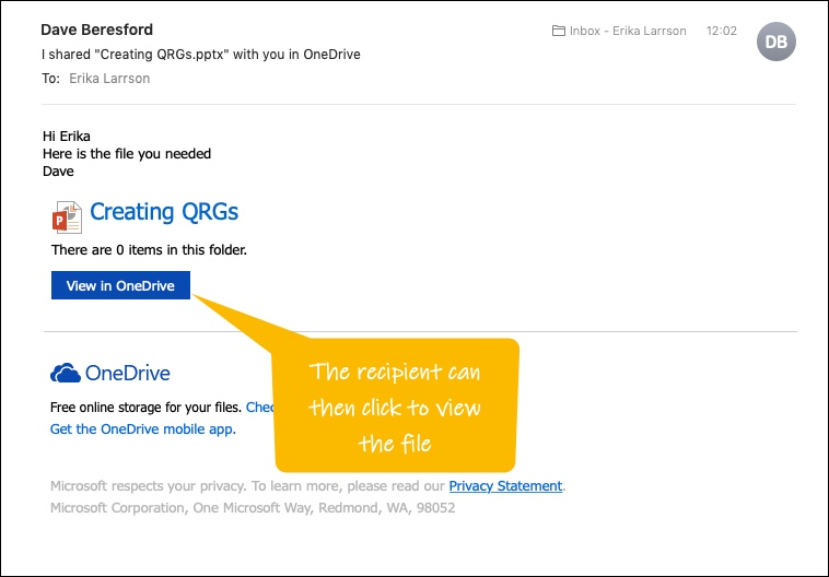 Recipient e-mail when you share a file from a Personal OneDrive
