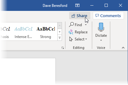 Share button in Word