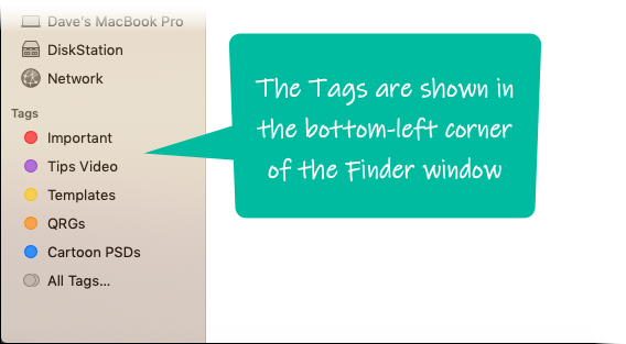 Tags in the Finder window