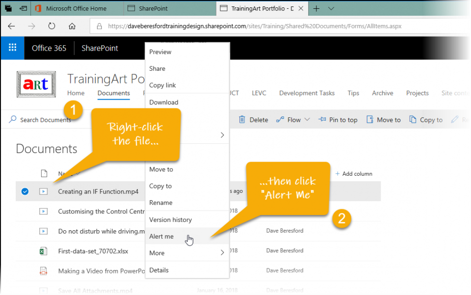 Right-Clicking a file in SharePoint