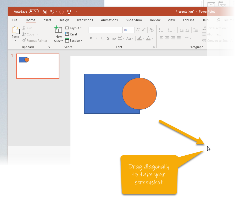 Dragging a box to select a screenshot in Outlook