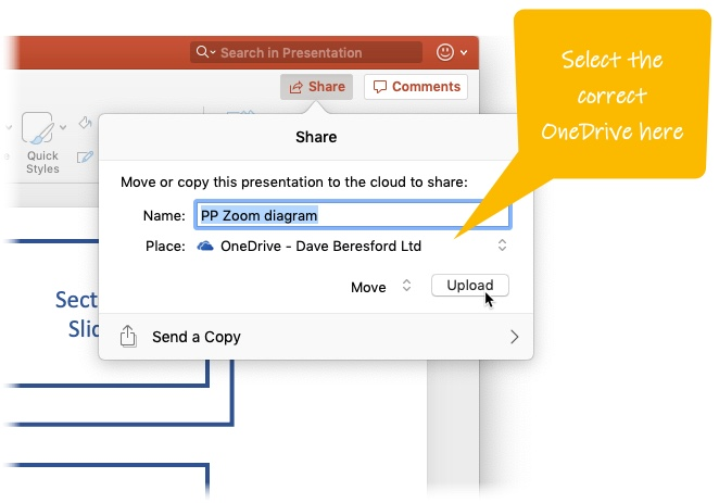 Pressing Share on a Mac running PowerPoint and choosing the OneDrive