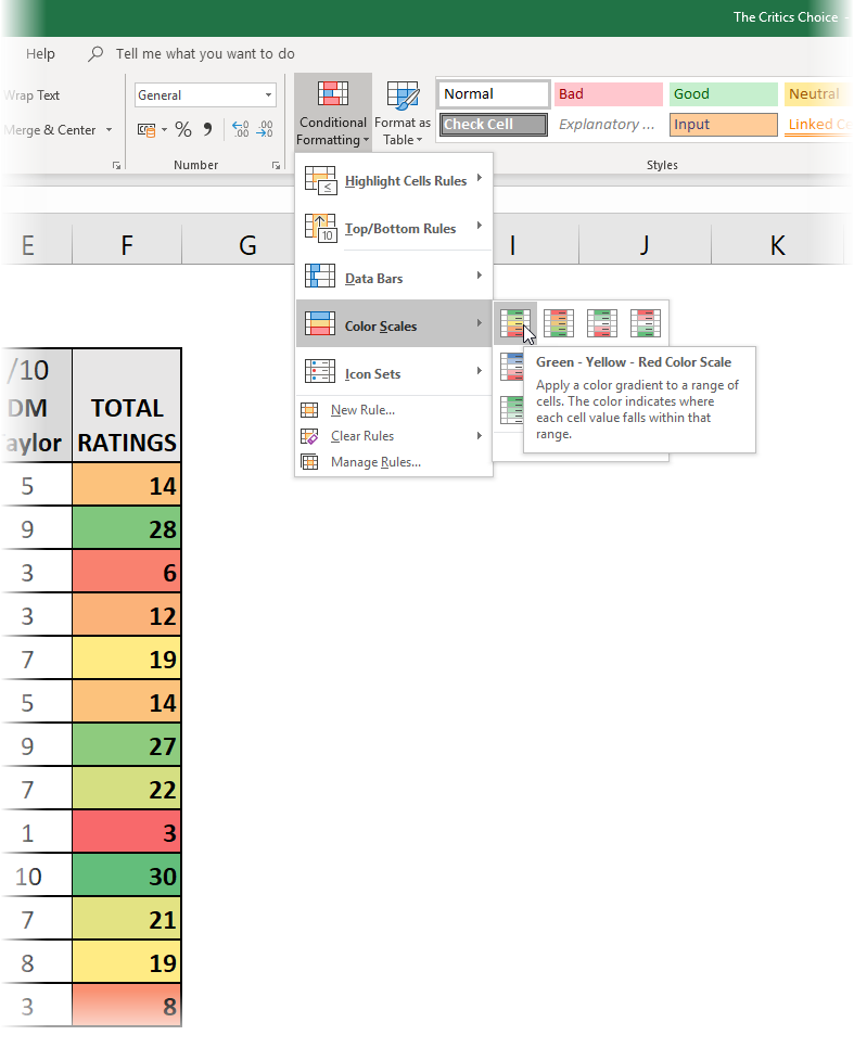 Example of colour scales using Conditional Formatting