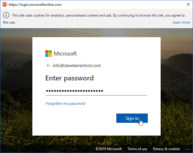 Typing your Microsoft account password