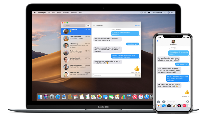 Messages running on a MacBook and on an iPhone