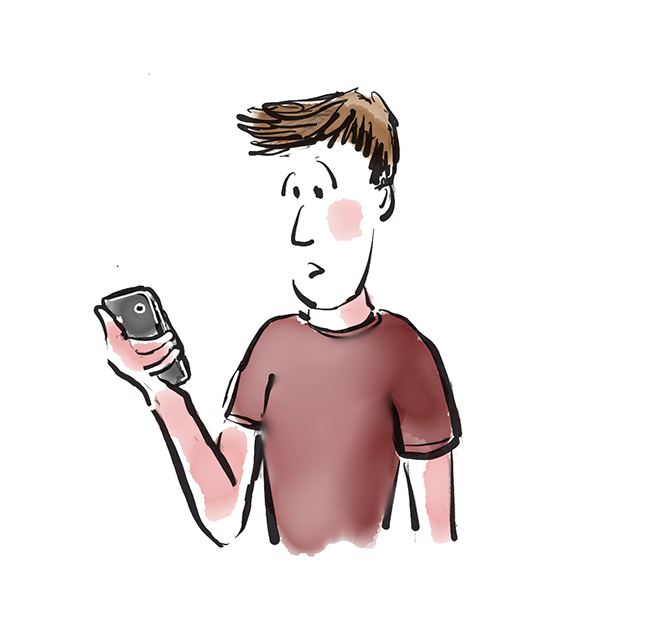 Confused guy looking at his iPhone